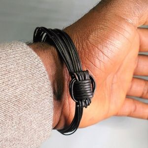The Afrikan Aesthetic Accessories - ✨Black 2-Knot Elephant Hair Style Bracelet